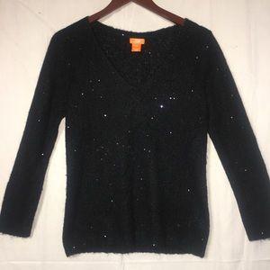 Joe Fresh Medium vNeck Black Sweater Sequins